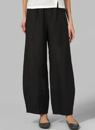 Casual Straight High Waist Cotton Polyester Pants (147091159)