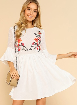 Floral Ruffles Peasant 3/4 Sleeves A-line Dress