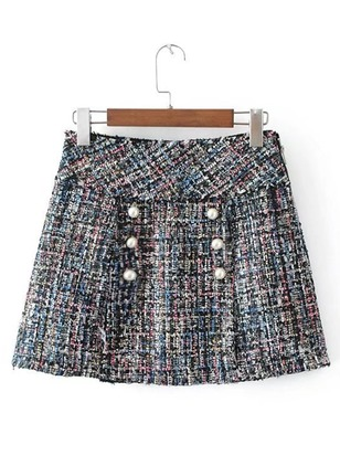 Cotton Check Above Knee Vintage Buttons Zipper Skirts