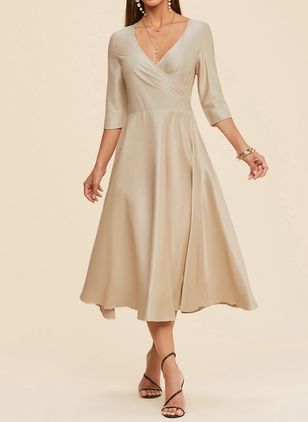 Elegant Solid V-Neckline Midi X-line Dress (1357760)