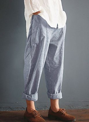 Casual Loose Pattern Mid Waist Cotton Blends Pants (122031097)