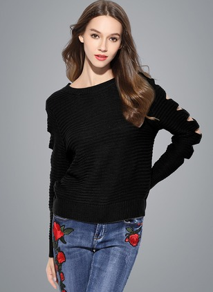Acrylic Round Neckline Solid Casual Loose Sweaters