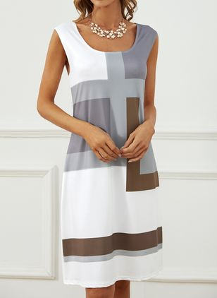 Casual Color Block Tunic Square Neckline Shift Dress (146834232)