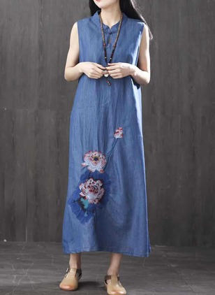 Floral Sleeveless Maxi Shift Dress