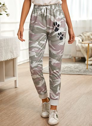 Casual Loose Pattern Mid Waist Polyester Pants (146794883)
