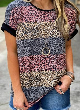 Leopard Round Neck Short Sleeve Casual T-shirts (146966681)