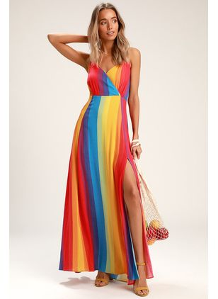 Color Block Slip Sleeveless Maxi X-line Dress