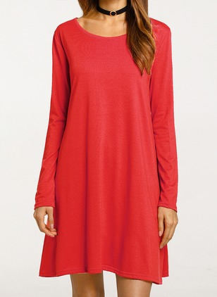 Cotton Solid Long Sleeve Shift Dress