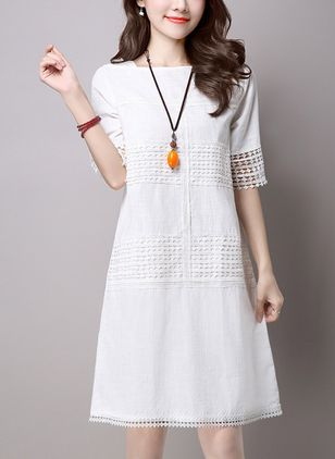 Solid Lace Half Sleeve Knee-Length Shift Dress