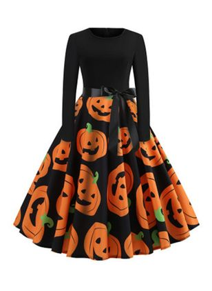 Halloween Color Block Round Neckline Midi X-line Dress (109973597)