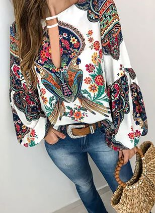 Floral Casual V-Neckline Long Sleeve Blouses (1338338)