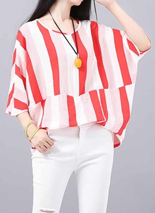 Stripe Round Neck 3/4 Sleeves Casual T-shirts