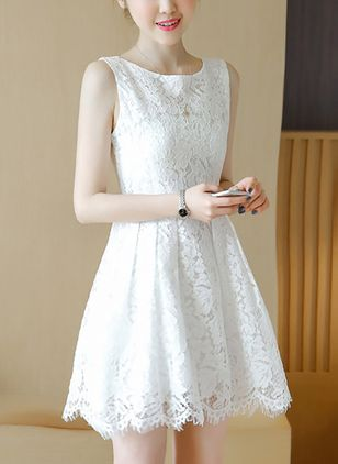 Solid Lace Sleeveless Above Knee A-line Dress