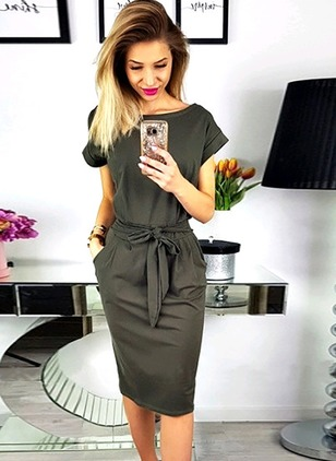 Solid Wrap Short Sleeve Knee-Length Sheath Dress