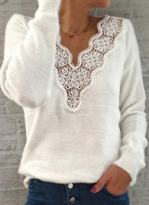 V-Neckline Solid Elegant Loose Regular Lace Hollow Out Sweaters (100132540)