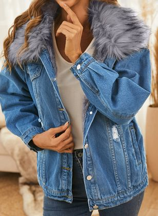 Long Sleeve Hooded Buttons Zipper Pockets Unremovable Fur Collar Denim Jackets (146783458)
