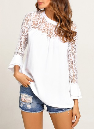 Solid Casual Chiffon Lace Round Neckline Long Sleeve Blouses