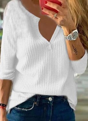 V-Neckline Solid Casual Loose Regular Shift Sweaters (107561532)