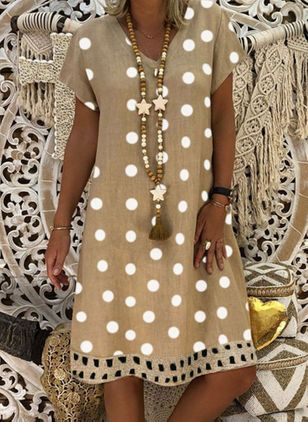 Casual Polka Dot Tunic V-Neckline Shift Dress (1530401)