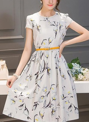 Floral Drop waist Short Sleeve Knee-Length A-line Dress