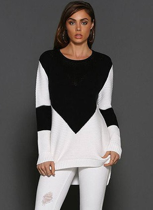 Polyester Round Neckline Color Block Loose Ruffles Others Sweaters