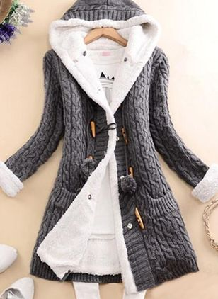 Long Sleeve Hooded Buttons Pockets Coats (146775076)