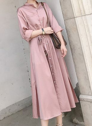 Solid Buttons Shirt Midi Shift Dress