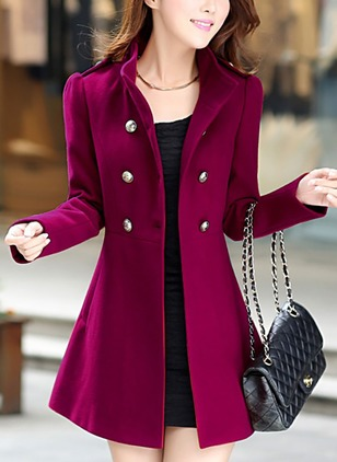 Long Sleeve High Neckline Buttons Trench Coats
