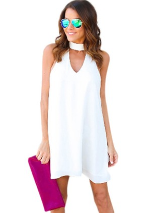 Solid Hollow Out Tank Sleeveless Shift Dress