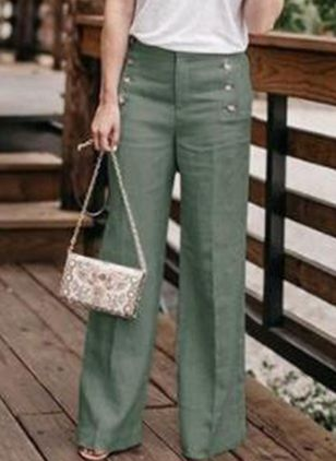 Casual Loose Buttons Mid Waist Cotton Linen Pants (1377615)