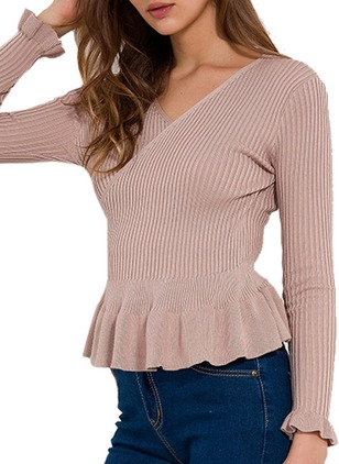 Polyester V-Neckline Solid Tight Others Sweaters