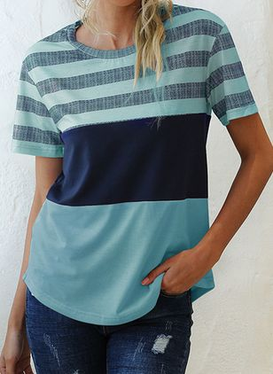 Stripe Round Neck Short Sleeve Casual T-shirts (147186858)