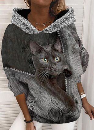 Animal Casual Round Neckline Sequins Sweatshirts (146842072)