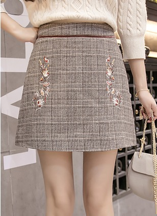 Polyester Tartan Above Knee Casual Embroidery Skirts