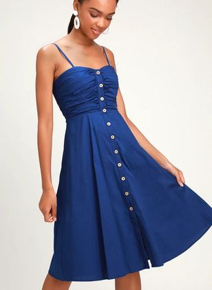 Solid Buttons Sleeveless Knee-Length X-line Dress
