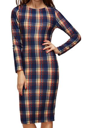 Elegant Plaid Pencil Round Neckline Sheath Dress (146654834)