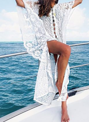 Cotton Solid Crochet Cover-Ups Swimwear (4135297)