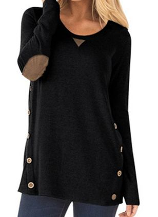 Round Neckline Color Block Casual Loose Regular Buttons Sweaters (101986955)
