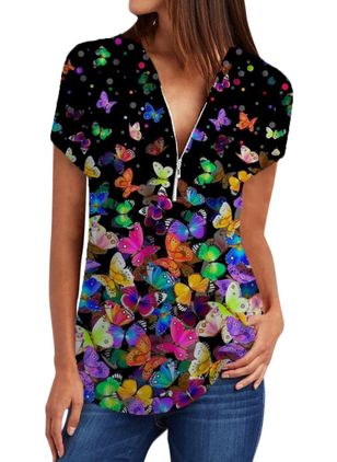 Animal Casual V-Neckline Short Sleeve Blouses (4074422)