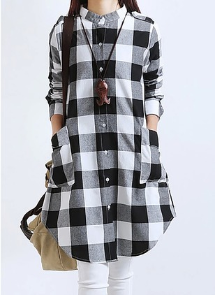 Pockets Shirt Collar Knee-Length Shift Dress