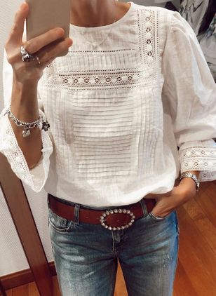 Solid Casual Round Neckline Long Sleeve Blouses (4864342)