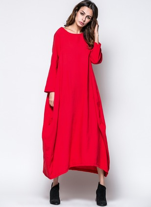 Solid Pockets Sweatershirt Maxi A-line Dress