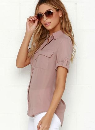 Solid Casual Collar Short Sleeve Blouses