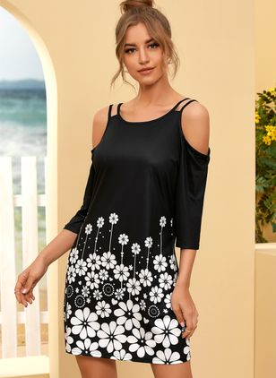 Casual Floral Tunic Round Neckline Shift Dress (107423105)