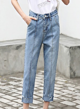 Straight Cotton Jeans Pants & Leggings