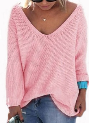 Cotton V-Neckline Solid Casual Loose Knitwear