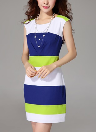 Chiffon Color Block Sleeveless Shift Dress