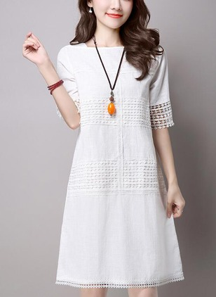 Cotton Solid Hollow Out Short Sleeve Shift Dress