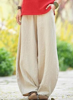 Casual Loose Pockets Mid Waist Cotton Linen Pants (147076977)