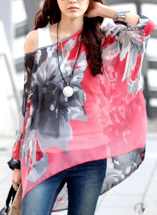Floral Casual Polyester Oblique Neckline Long Sleeve Blouses